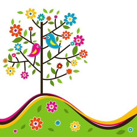 Decoratieve bloemen boom en vogel, vector illustration