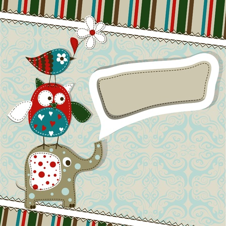 Template greeting card, scrap illustration Stock Vector - 15834540