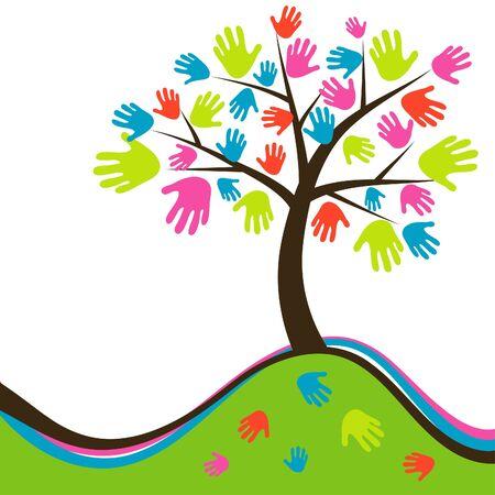 Decorative abstract hand tree, vector illustration