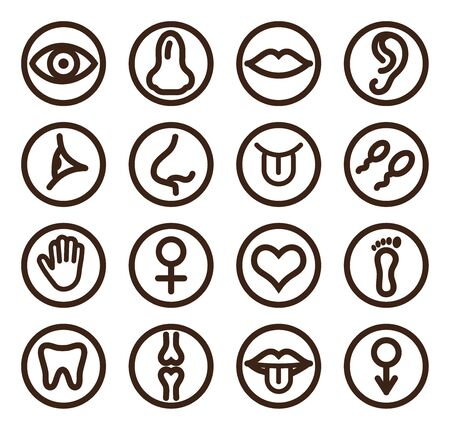 Medical line icon set for web and mobile. Set includes- tooth, eye, ear, hand, bone,  lips, tongue. Vectores