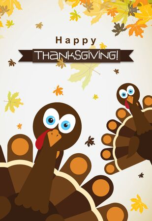 Template greeting card with a happy Thanksgiving turkey