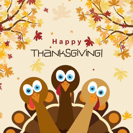 Template greeting card with a happy Thanksgiving turkey, vector illustration Иллюстрация