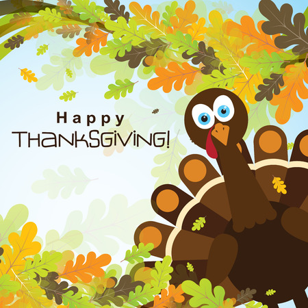 Template greeting card with a happy Thanksgiving turkey, vector illustration Ilustracja