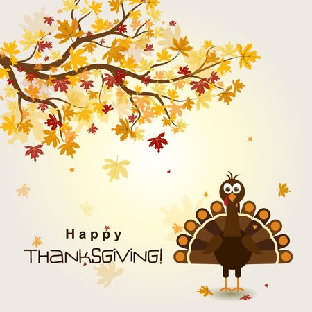 Template greeting card with a happy Thanksgiving turkey, vector illustration Vettoriali