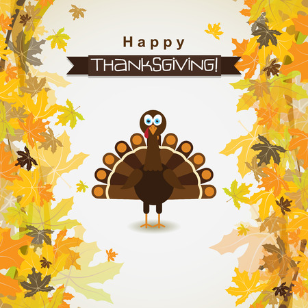 Template greeting card with a happy Thanksgiving turkey, vector illustration Vectores
