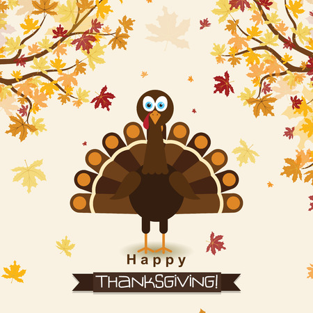 Template greeting card with a happy Thanksgiving turkey, vector illustration 版權商用圖片