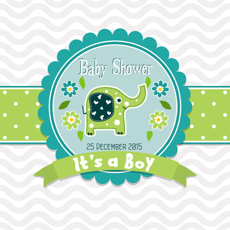Template greeting card -  baby shower, vector illustration Stock Photo
