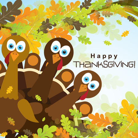 Template greeting card with a happy Thanksgiving turkey, vector illustration Фото со стока