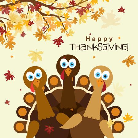 幸せな感謝祭の七面鳥、ベクトル イラストとテンプレート グリーティング カード