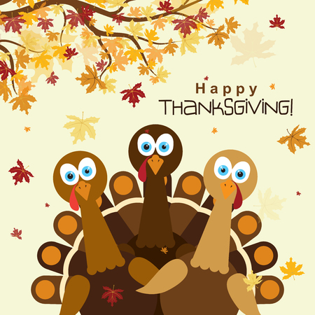 Template greeting card with a happy Thanksgiving turkey, vector illustration Çizim