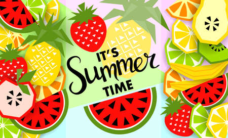 Summer banner with fruit design. Иллюстрация