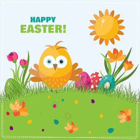 template easter greeting card chick vector illustration royalty