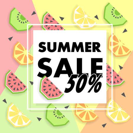 オレンジ、レモン、キウイ、スイカ、テキストのための場所で夏販売バナー。パンフレットの型板のトレンディな季節ベクトルの背景。  イラスト・ベクター素材