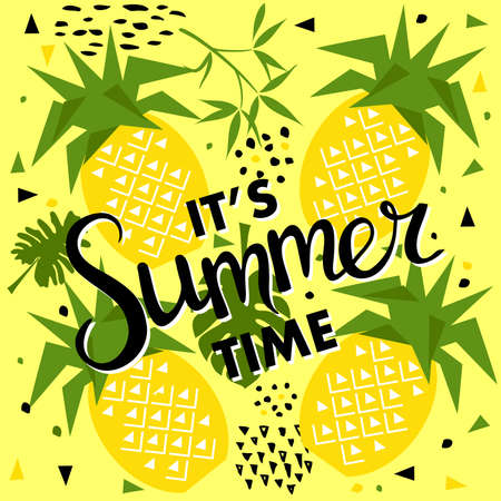 Summer seamless pattern with pineapple. Trendy seasonal vector background, brochure template. Illustration