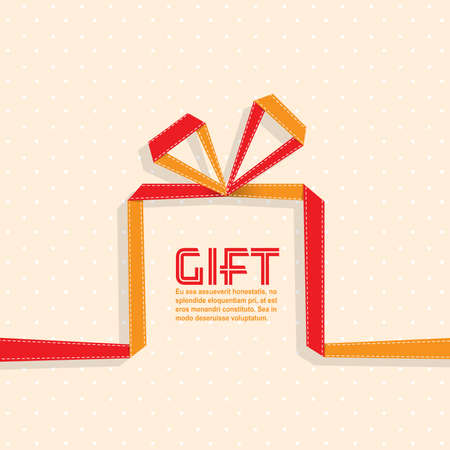 Gift in the style of origami ribbon, vector illustration Illustration