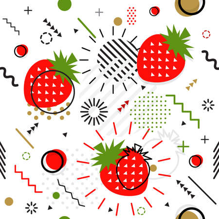 Trendy seamless, Memphis style strawberry geometric pattern, vector illustration with line elements and  geometric figures. Design backgrounds for invitation, brochure template Memphis fashion