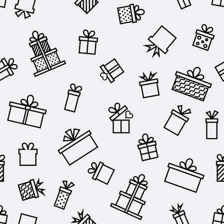 Trendy seamless line icon pattern with gift, vector illustration with line elements and abstract box figures. Design backgrounds for wallpaper