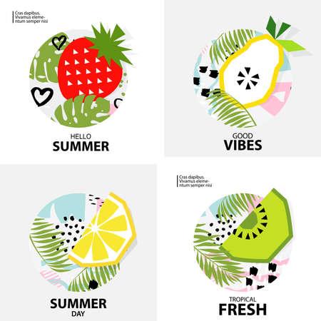 Trendy Tropic  background with fruit (Kiwi, orange, lemon, strawberry, pear ). Design background for booklet, cards, invitation, brochure and promotion. Vector illustration