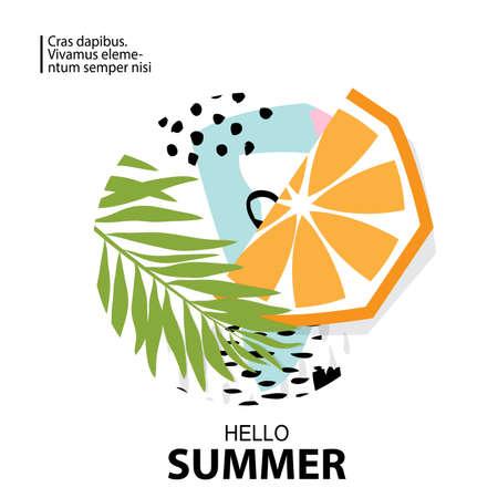Trendy tropic and orange background. Design background for booklet, cards, invitation, brochure and promotion. Vector illustration