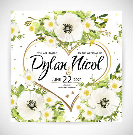 Wedding heart floral template invite, garden flower white poppy and rose, green leaves, gold decor. Trendy decorative layout. Vector illustration Illustration