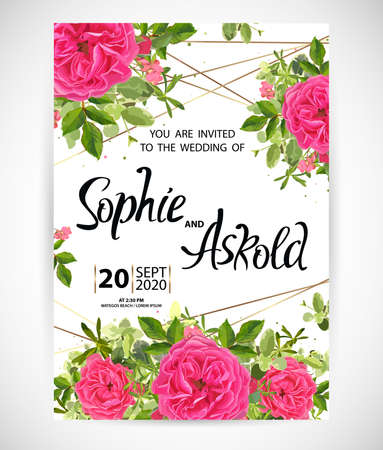 Wedding floral template invite, garden flower roses, green leaves, gold decor. Trendy decorative layout. Vector illustration  イラスト・ベクター素材