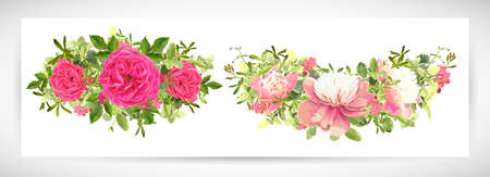 Floral template design bouquet, white-pink peony, pink tea roses, periwinkle, wormwood, green leaves decor. Vector illustration