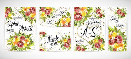 Wedding floral template invite, garden flower burgundy ranunculus and yellow, orange and white roses, green leaves, gold decor. Trendy decorative layout. Vector illustration Illustration