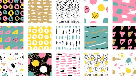 Patrón de colores transparente de vector de moda con pinceladas. Fondos de diseño para papel tapiz, portada. Tarjeta abstracta dibujada a mano, colores pastel y oro. Ilustración vectorial