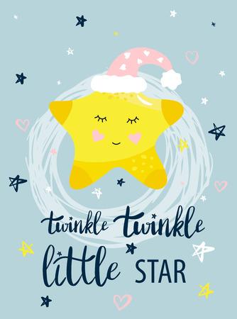 Vector sjabloon nacht kaarten met kleine ster en zinnen met letters. Ontwerpkaart voor babydouche, kinderkamerposter, T-shirt voor kinderen en baby's en kaarten, posters, spandoek. Vector Illustratie