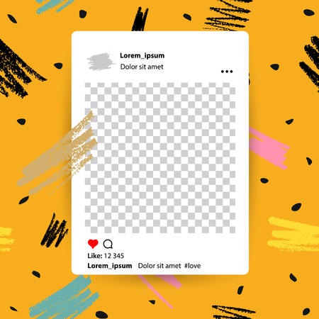 Trendy editable template for social networks stories, vector illustration. Design backgrounds for social media. Hand drawn grunge abstract card. 向量圖像