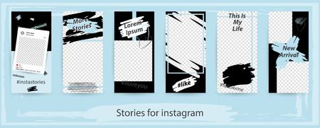 Trendy editable templates for instagram stories, vector illustration. Design backgrounds for social media. Hand drawn abstract card. Фото со стока - 110508964