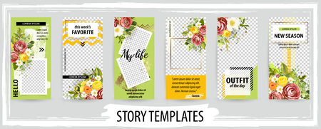 Trendy editable template for social networks stories, vector illustration. Design backgrounds for social media. 일러스트