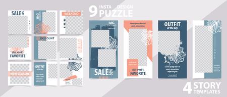 Plantilla editable de moda para historias y publicaciones de redes sociales, ilustración vectorial.