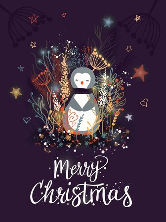 Template Christmas greeting card with a penguin. Christmas winter vector illustration for the design of cards, packaging, poster, clothing