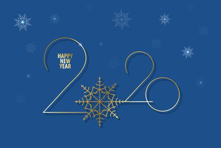 Happy new year classic blue greeting card . Color of the year 2020  for advertising. Vector illustration. Illusztráció