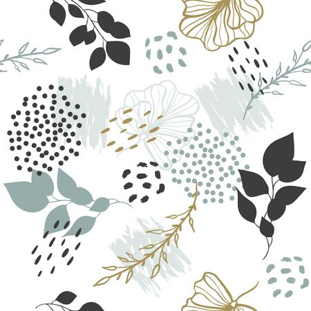Seamless exotic pattern with plants. Vector tropical hand draw leaves  background  for paper, cover, fabric, interior decor. Vectores
