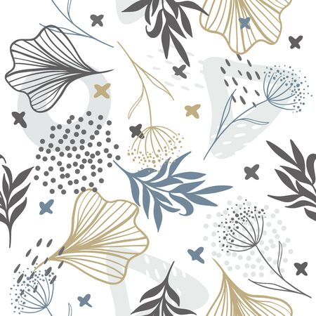 Seamless exotic pattern with tropical plants and gold elements. Vector hand draw tropical leaves background for paper, cover, fabric, interior decor. Ilustración de vector
