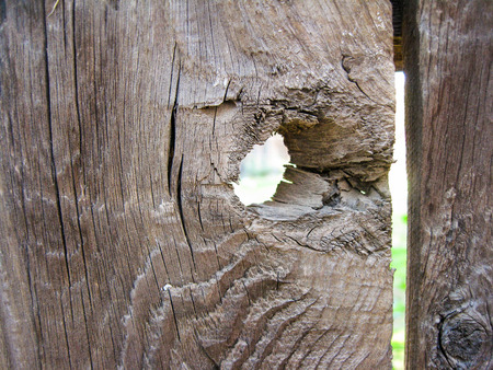 Close-up van knothole in oude hek plank Stockfoto