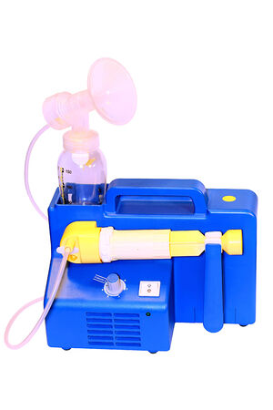 Breast Pump Machine To Increase Milk Supply For Breastfeeding Mother With White Backround Vertical
