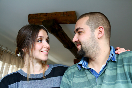 eachother: Young Turkish Couple Looking Eachother