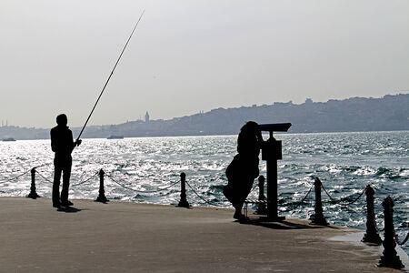 Fisherman and Tourist Silhouette Bosphorus Istanbul