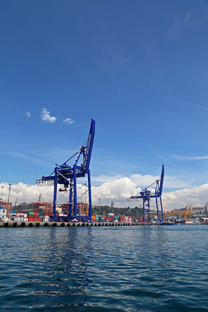 haydarpasa: Port of Haydarpasa and Container Terminal in Harem Istanbul Editorial