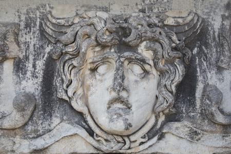Ancient portrait stone in Apollo Temple, Didyma, Turkey, 2014