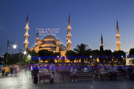camii: Blue Mosque (Sultanahmet Camii) at night in Istanbul, Turkey, 2014 Editorial