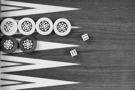 double the chances: Backgammon table Turkish tavla and double six dice closeup Stock Photo