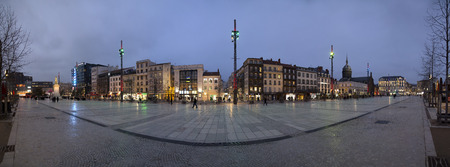 destination scenics: CLERMONT-FERRAND, FRANCE - February 2015 : Panoramic view of Place de Jaude at the evening in Clermont-Ferrand, France. Place de Jaude is the main square of the city.