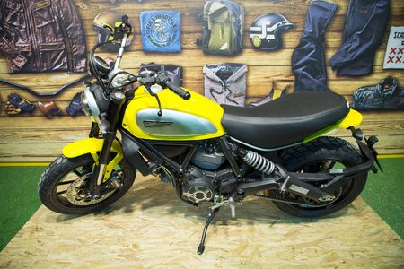 scrambler: ISTANBUL, TURKEY - FEBRUARY 27, 2015: Ducati Scrambler motorcycle on display at Eurasia motobike expo, CNR Expo
