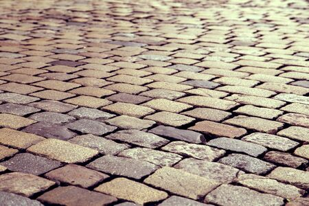 Cobble stone road pattern with vintage effect photo