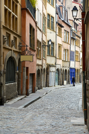 Old street of Lyon view, France