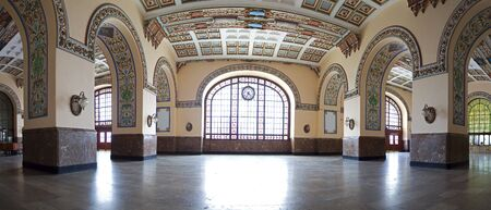 Interior panoramic view of historical Haydarpasa Train Station built in neo-classical structure